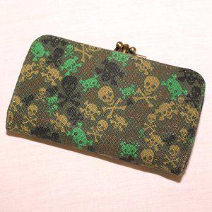 Loungefly green skulls bifold wallet